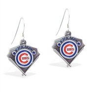 Sterling Silver Earrings With Official Licensed Pewter MLB Charms, Chicago Cubs