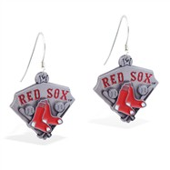 Sterling Silver Earrings With Official Licensed Pewter MLB Charms, Boston Red Sox