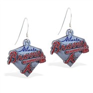 Sterling Silver Earrings With Official Licensed Pewter MLB Charms, Atlanta Braves