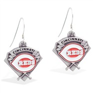 Sterling Silver Earrings With Official Licensed Pewter MLB Charms, Cincinnati Reds