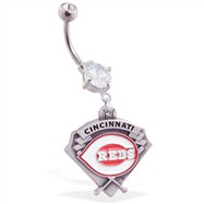 Belly Ring With Official Licensed MLB Charm, Cincinnati Reds