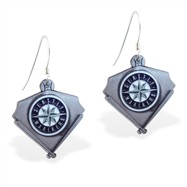 Sterling Silver Earrings With Official Licensed Pewter MLB Charms, Seattle Mariners