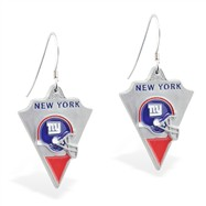 Sterling Silver Earrings With Official Licensed Pewter NFL Charm, New York Giants