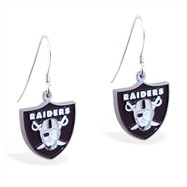 Sterling Silver Earrings With Official Licensed Pewter NFL Charm, Oakland Raiders