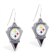Sterling Silver Earrings With Official Licensed Pewter NFL Charm, Pittsburgh Steelers