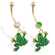 14K Yellow Gold belly ring with dangling green frog