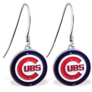 Sterling Silver Earrings With Official Licensed Pewter MLB Charm, Chicago Cubs