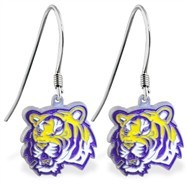 Sterling Silver Earrings With Official Licensed Pewter NCAA Charm, Louisiana State University Tiger