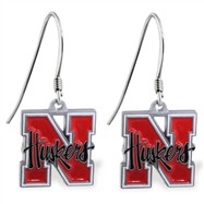 Sterling Silver Earrings With Official Licensed Pewter NCAA Charm,University Of Nebraska Cornhuskers