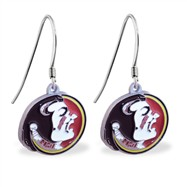 Sterling Silver Earrings With Official Licensed Pewter NCAA Charm, Florida State Seminoles