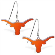 Sterling Silver Earrings With Official Licensed Pewter NCAA Charm, University Of Texas Longhorns