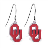 Sterling Silver Earrings With Official Licensed Pewter NCAA Charm, Oklahoma University Sooners