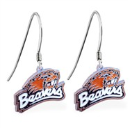 Sterling Silver Earrings With Official Licensed Pewter NCAA Charm, Oregon State Beavers