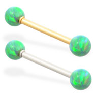 14K Gold straight barbell with Green opal balls