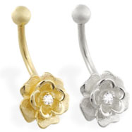 14K Yellow Gold Flower Belly Ring with Single CZ