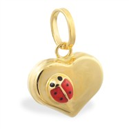 14K Yellow Gold Heart Pendant with Small Ladybug