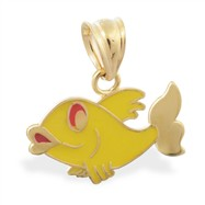 14K Yellow Gold Yellow Enameled Fish Pendant