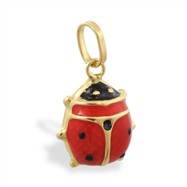 14K Yellow Gold Enameled Ladybug Pendant