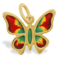 14K Gold Butterfly Enameled Pendant