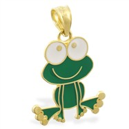 14K Yellow Gold Enameled Frog Pendant