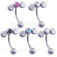Curved barbell with triple CZ top, 16 ga