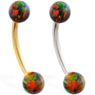 14K Gold curved barbell with Rainbow opal balls
