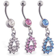 Belly ring with jeweled teardrop dangle