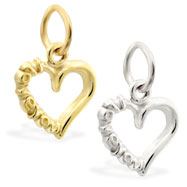 "14K Gold heart charm with ""I Love You"""
