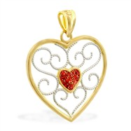 14K Yellow Gold Heart Charm with Red Glitter Center