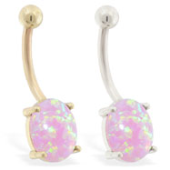 14K Gold belly ring with Pink Opal