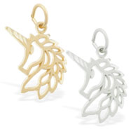 14K Gold Unicorn Charm