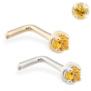 14K Gold L-shaped nose pin with 1.5mm Citrine gem