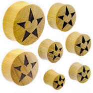 Pair Of Organic Jackfruit Wood Saddle Plugs with Star And Heart Inlay