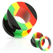 Pair Of Rasta Tunnels with Threaded Back