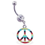Navel ring with dangling multi-colored peace sign