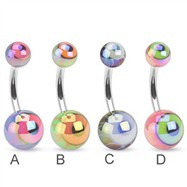 Metallic coated eyeball belly ring