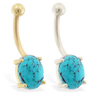 14K Gold Belly Ring with Natural Turquoise Stone