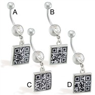 Navel ring with dangling hidden QR Code message square