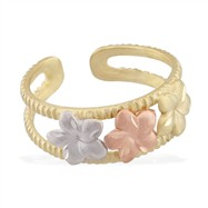 14K Yellow Gold Toe Ring With Yellow, Rose And White Gold Triple Flowers