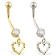 "14K Gold belly ring with dangling heart charm with ""I Love You"""
