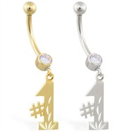 "14K Gold belly ring with dangling ""#1"" charm"