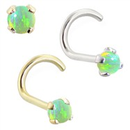 14K Gold Nose Bone with 2mm Round Green Opal