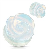 Pair Of Hand-Carved Rose Opalite Plugs