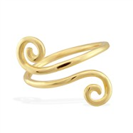 14K yellow gold toe ring with swirled ends