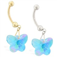 14K Gold belly ring with dangling aquamarine AB swarovski crystal butterfly