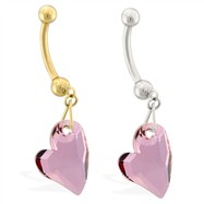 14K Gold belly ring with dangling light amethyst swarovski crystal heart