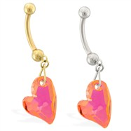 14K Gold belly ring with dangling pink AB swarovski crystal heart