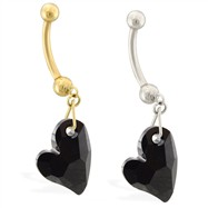 14K Gold belly ring with dangling black swarovski crystal heart