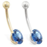 14K Gold belly ring with Blue Zircon oval