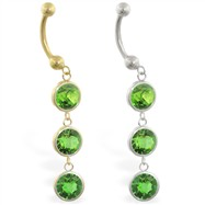 14K Gold belly ring with triple dangling round Peridot